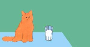 Hier is een bekertje melk.