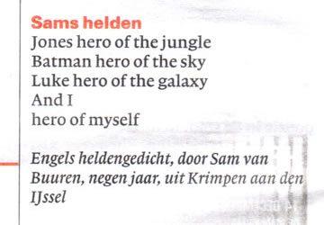 Sams heldengedicht in de krant