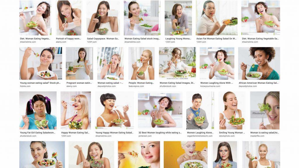 Screenshot van zoekresultaat voor 'Woman Eating Salad'. Resultaat: alleen foto's van schaarsgeklede jonge vrouwen die extatisch met een vork in salade prikken