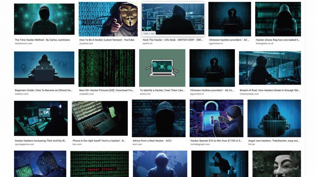 Screenshot van zoekresultaat voor 'Hacker'. Resultaat: alleen donkere foto's gemaskerde types met een hoodie op een achtergrond van cijfers