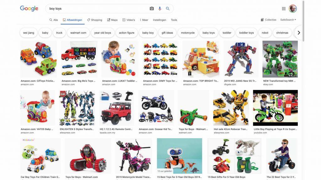 Screenshot van zoekresultaat voor 'Boy toys'. Resultaat: robots, auto's