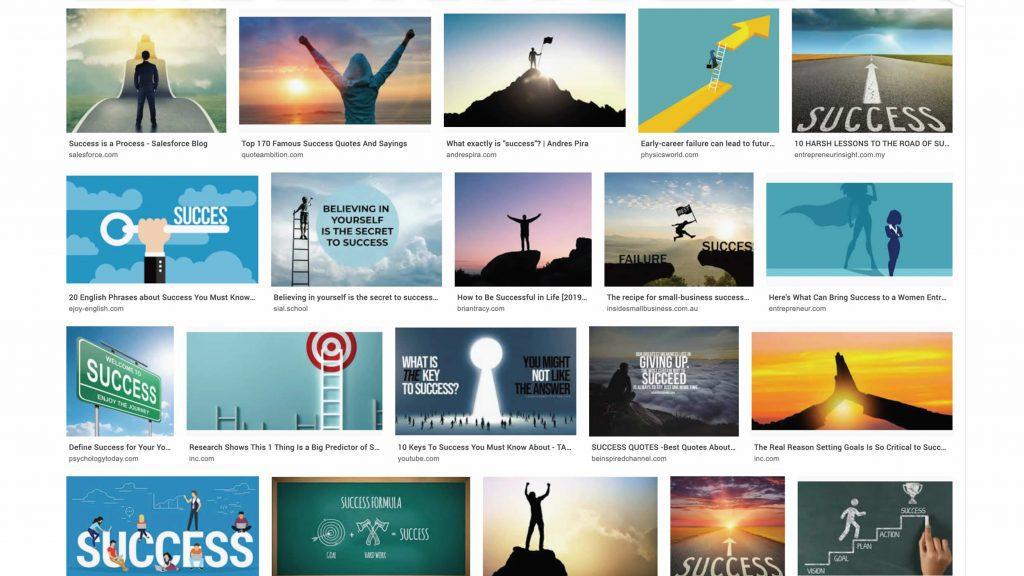 Screenshot van zoekresultaat voor 'Success'. Resultaat: blauwe foto's met horizons en beklommen bergtoppen.