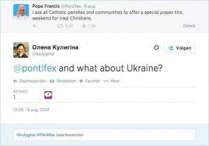 Screenshot van een tweet met de tekst 'And what about Ukraine?' als antwoord op een pauselijke oproep tot gebed voor Irakese christenen.
